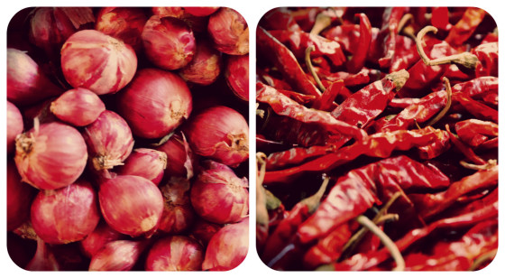 Onions and chillies