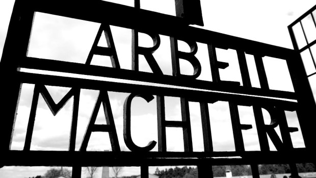 "Arbeit Macht Frei - ""Work will set you free"" - Sign at the entrance in Sachsenhausen Museum"