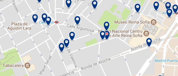 Best areas to stay in Madrid for nightlife - Lavapiés - Click here to see all hotels on a map