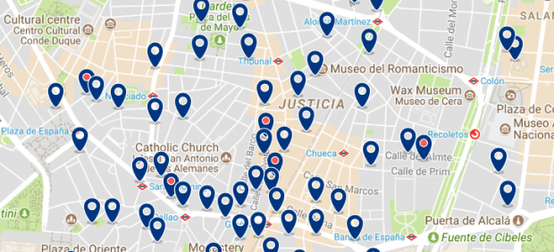 Best areas to stay in Madrid for nightlife - Malasaña - Click here to see all hotels on a map