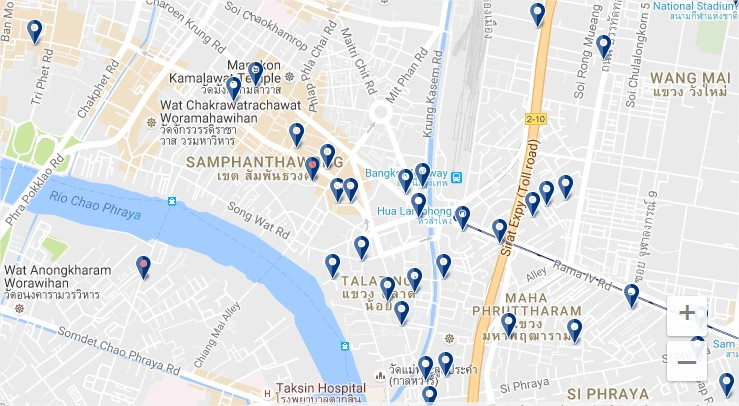 Staying in Bangkok's Chinatown - Click map to expand