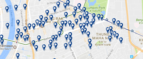 The best areas to stay in Bangkok - Sathorn - Click on map to expand