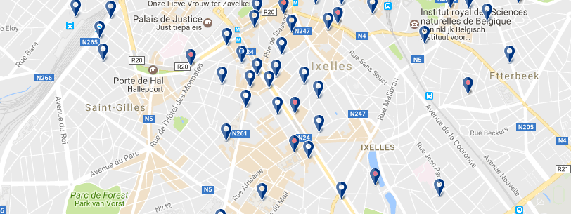 Alojamiento en Ixelles - Click to see all hotels on a map