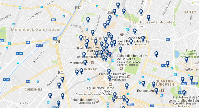 Central Brussels - Click to see all hotels on a map
