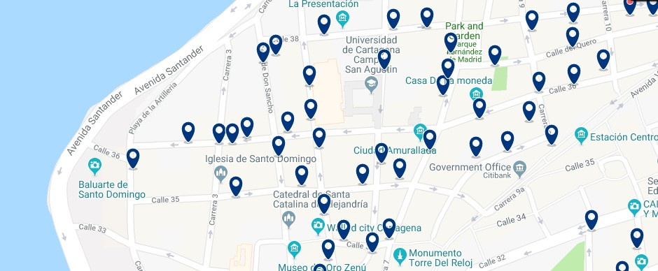 Cartagena - Centro Histórico - Click to see all hotels on a map
