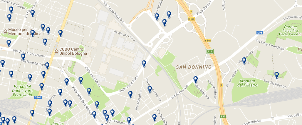 Bologna Fiere - Click to see all hotels on a map