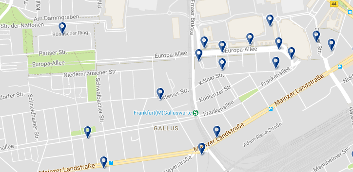 Frankfurt - Gallusviertel - Click to see all hotels on a map