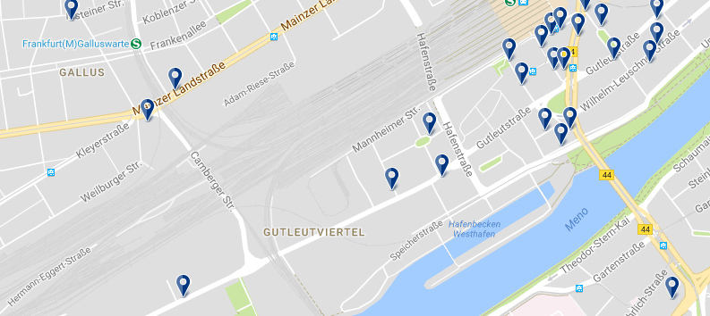 Frankfurt - Gutleutviertel - Click to see all hotels on a map