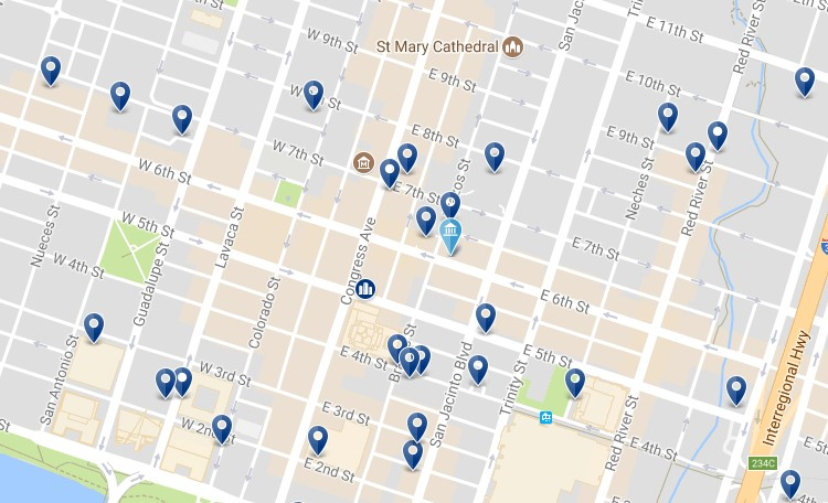 Austin 6th Street - Click to see all hotels on a map