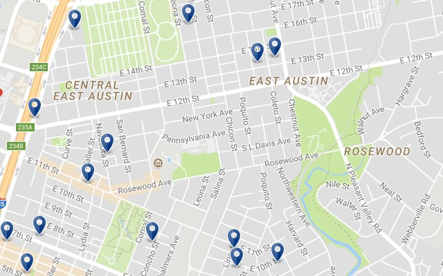 East Austin - Click to see all hotels on a map