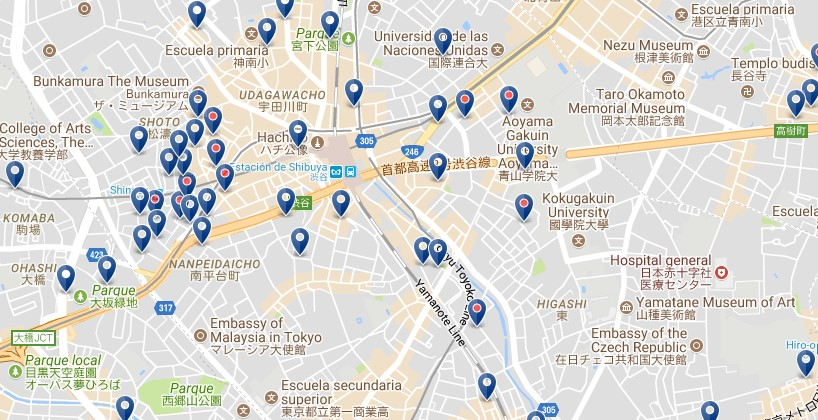 Tokyo - Shibuya - Click to see all hotels on a map