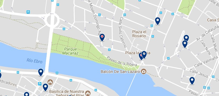 Zaragoza - Arrabal - Click to see all hotels on a map