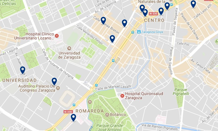 Zaragoza - Romareda - Click to see all hotels on a map