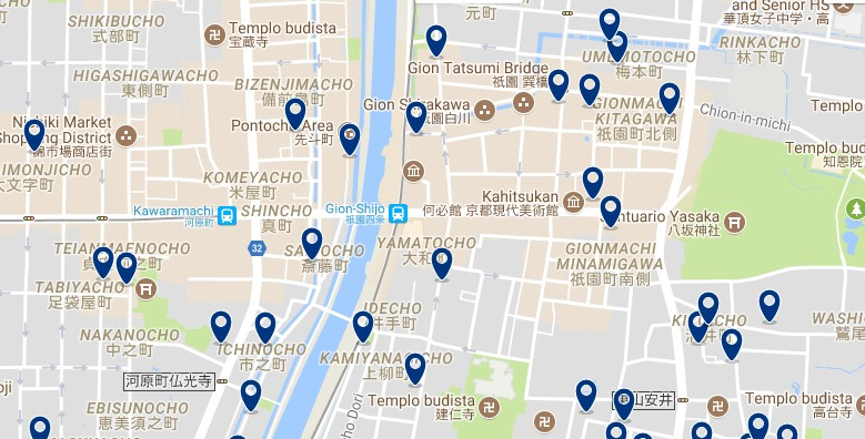 Kyoto - Gion - Click to see all hotels on a map