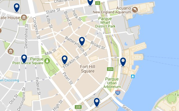 Boston - Financial District - Click to see all hotels on a map