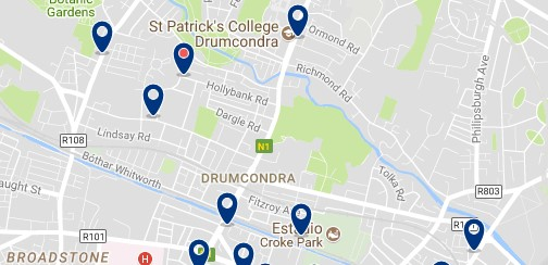 Dublin - Drumcondra - Click to see all hotels on a map