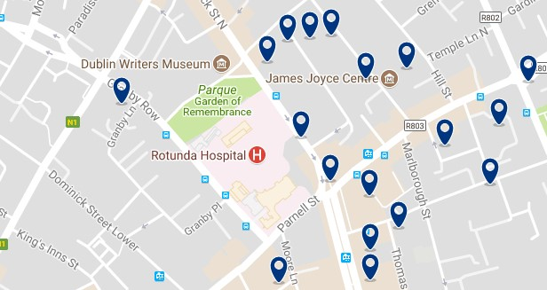 Dublin - Parnell Square - Click to see all hotels on a map