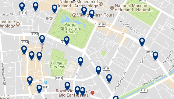Dublin - St Stephen's Green - Click to see all hotels on a map