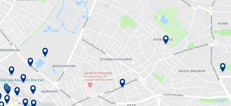 Bremen - Schwachhausen - Click to see all hotels on a map