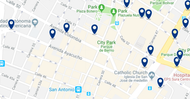 Medellin - La Candelaria - Click to see all hotels on a map