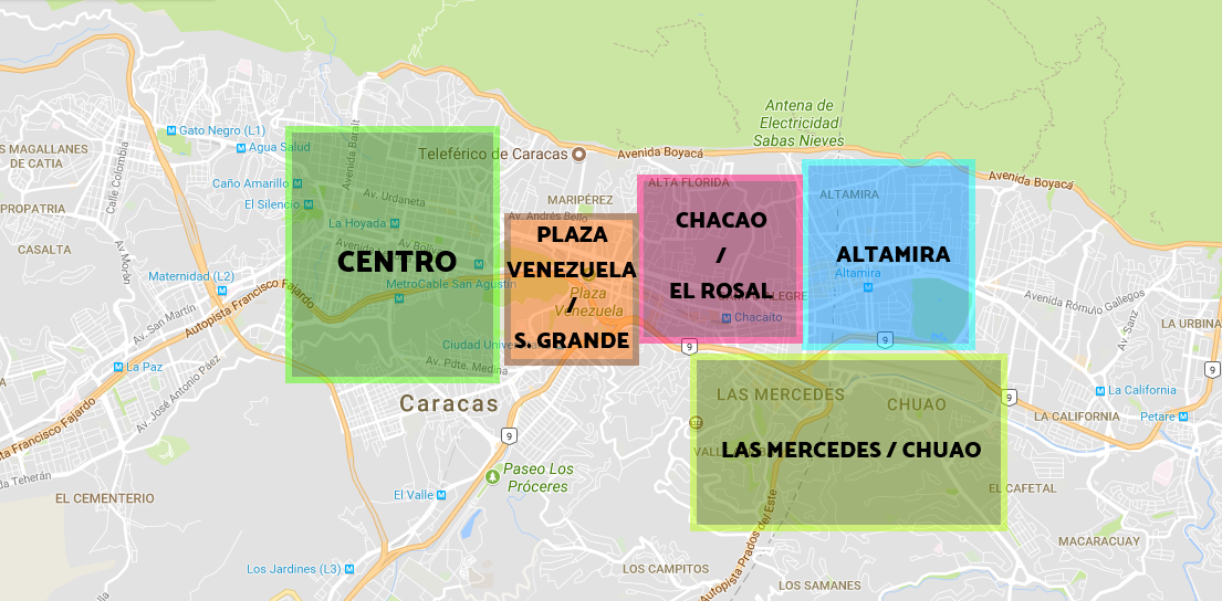 Best areas to stay in Caracas - Map