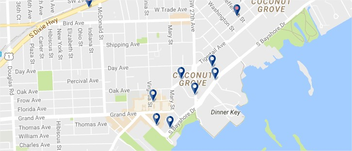 Miami - Coconut Grove - Click to see all hotels on a map