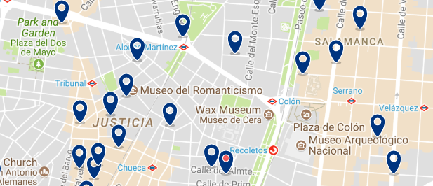 Best areas to stay in Madrid for nightlife - Chueca - Click here to see all hotels on a map