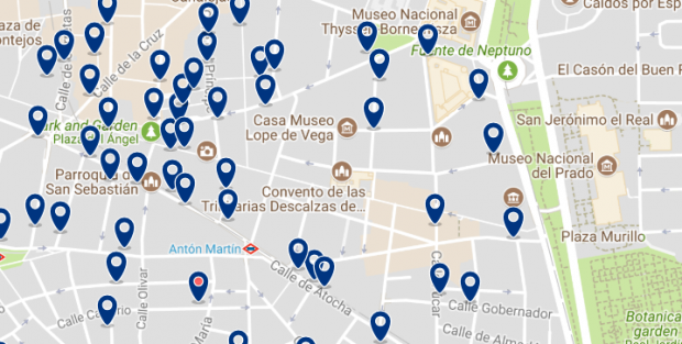 Best areas to stay in Madrid for nightlife - Las Letras & La Latina - Click here to see all hotels on a map