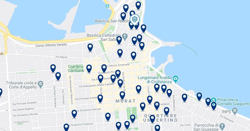 Mappa di alloggio a Bari - Clicca qui per vedere tutti gli hotel su una mappa