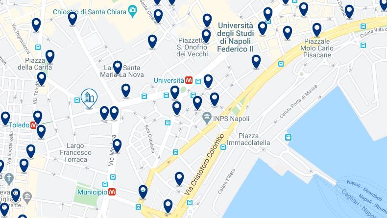Mappa di alloggio a Napoli - Clicca qui per vedere tutti gli hotel su una mappa