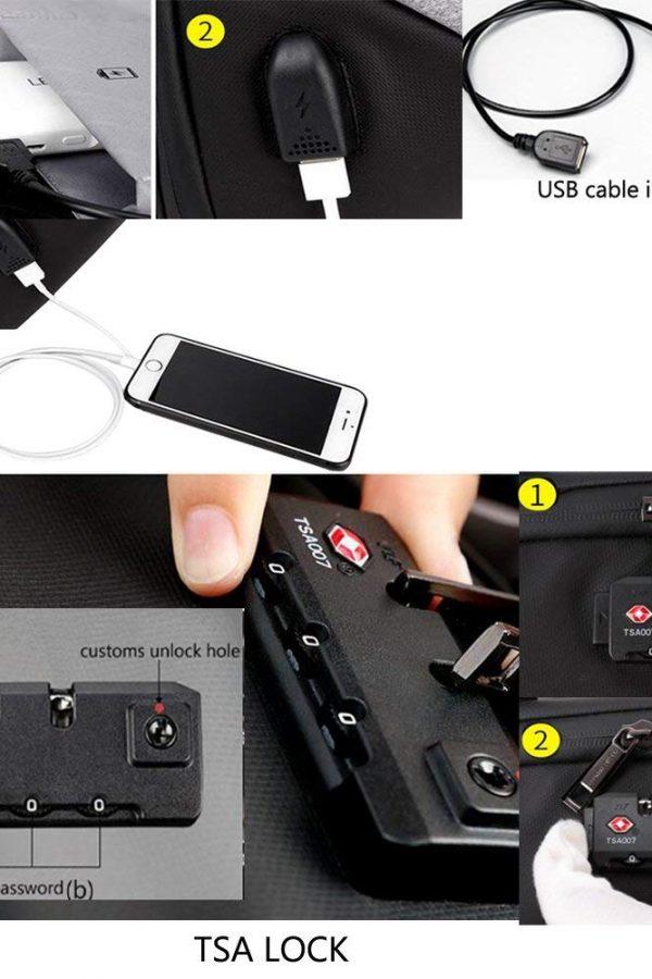 Mochila antirrobo puerto USB Arctic Hunter