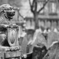 León decorativo en el cementerio