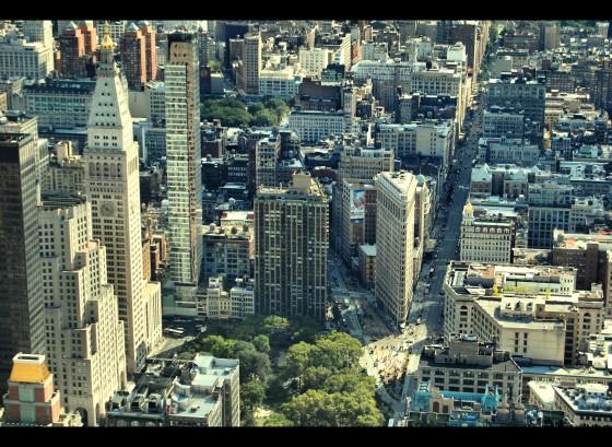 En el centro a la derecha está el Flatiron, uno de mis edificios favoritos.