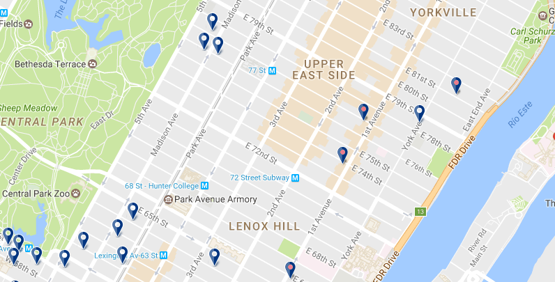 New York - Upper East Side - Click here to see all hotels on a map