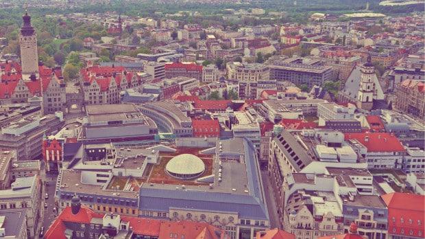 Centro de Leipzig desde Panorama Tower