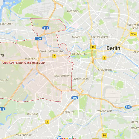Mapa Charlottenburg - Wilmersdorf