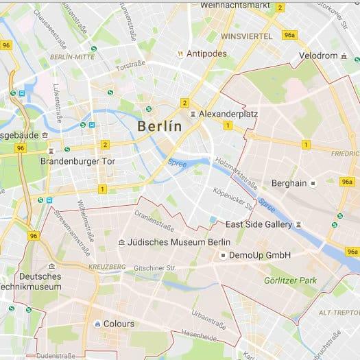Mapa Friedrichshain - Kreuzberg