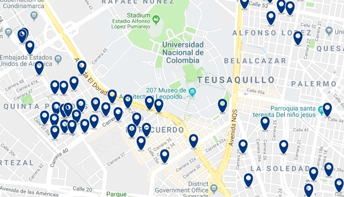 Bogotá - Teusaquillo - Click on map to see all hotels
