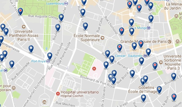 Best Area To Stay In Paris Latin Quarter Click See All Hotels On A Map