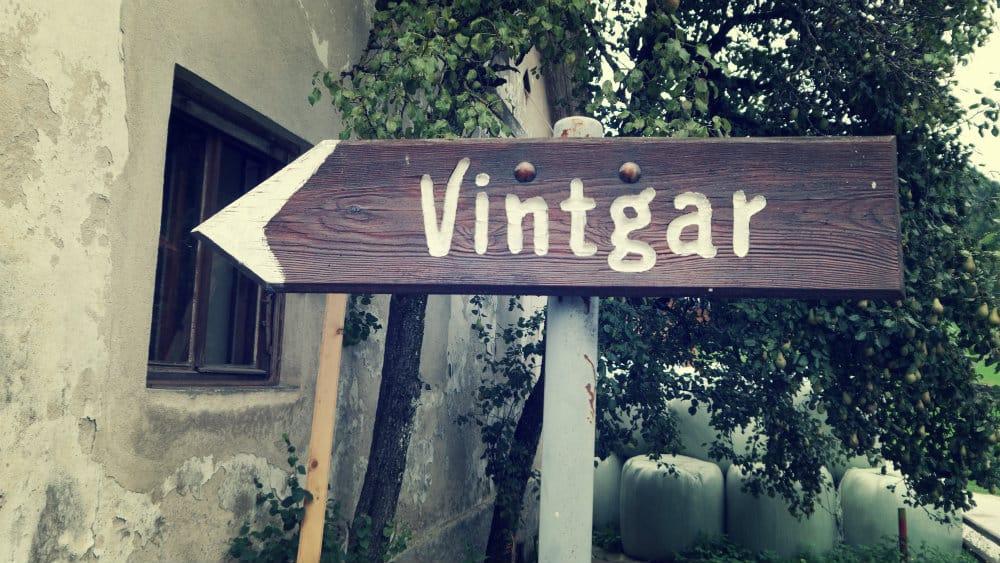 Letrero del camino a la Garganta de Vintgar en Eslovenia