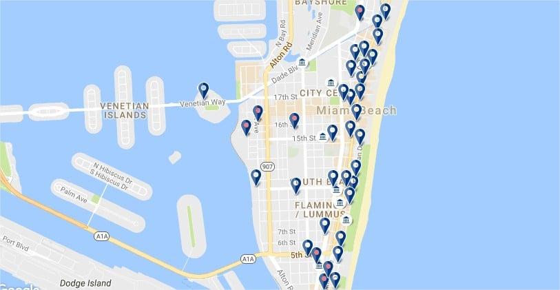 Alojarse en South Beach - Haz clic para ver todos los hoteles en un mapa