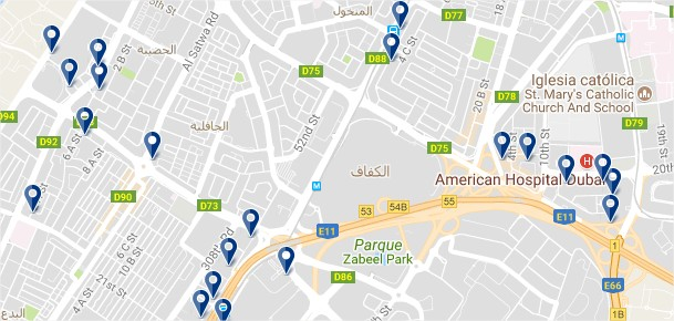 Burj Dubai - Click to see all hotels on a map (opens in a new tab)