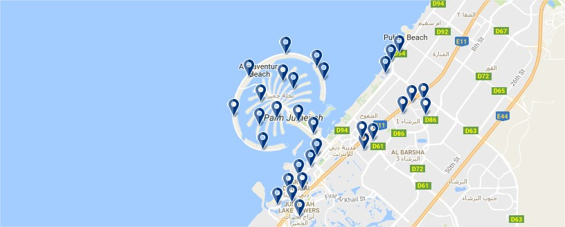 Dubai Beach - Click to see all hotels on a map (opens in a new tab)