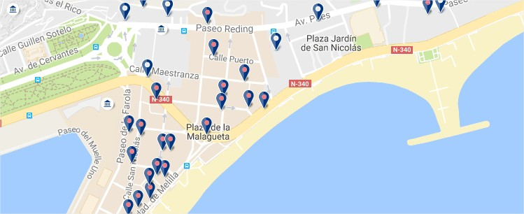 Where to Stay in Malaga - Best Areas and Hotels on map of dallas fort worth area, map of madrid area, map of orlando sanford area, map of nuremberg area, map of yokohama area, map of stockholm area, map of bangkok area, map of acapulco area, map of valencia area,