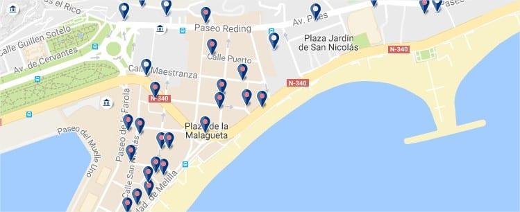 La Malagueta - Malaga - Click to see all hotels on a map