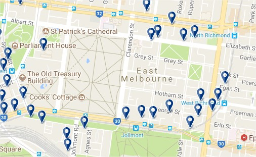 East Melbourne - Click to see all hotels on a map (opens in a new tab)