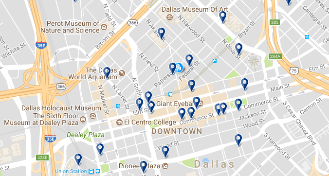 Downtown Dallas - Click on the map to see all hotels in the area