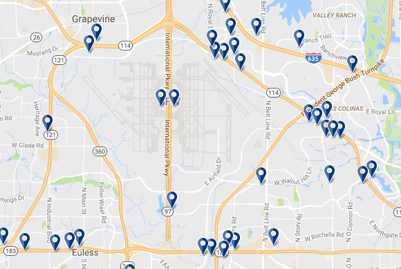 Dallas-Fort Worth Airport - Click on the map to see all hotels in the area