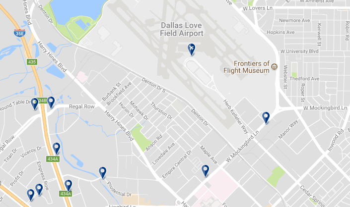 Dallas Love Field Airport - Click on the map to see all hotels in the area