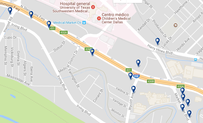 Dallas Market Center - Click on the map to see all hotels in the area